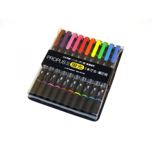 Uni Propus 2 Twin-headed Highlighter - 10-Color Set
