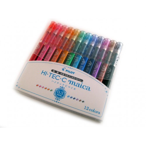 Pilot Hi-Tec-C Maica Gel Pen - 0.3mm - 12-Color Set