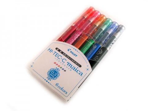 Pilot Hi-Tec-C Maica Gel Pen - 0.3mm - 6-Color Set
