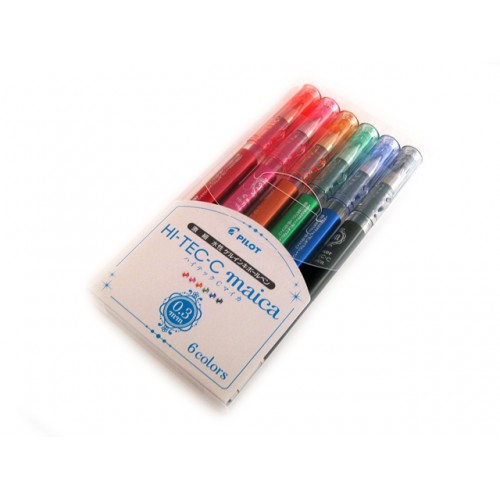 Pilot Hi-Tec-C Maica Gel Pen - 0.3mm - 6-Color Set