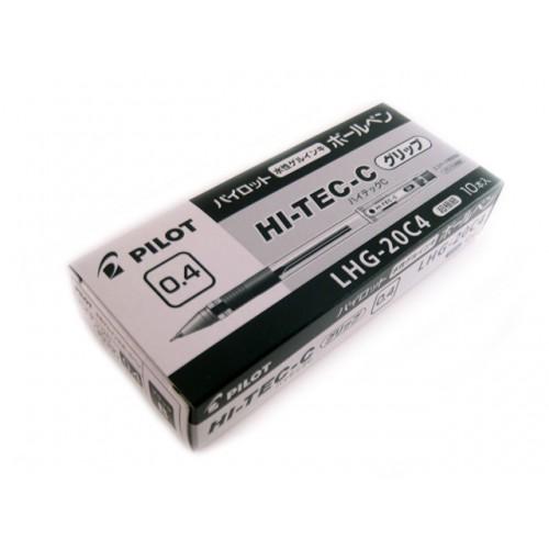 Pilot Hi-Tec-C 0.4mm  -   Black (Grip Version) (Box of 10)