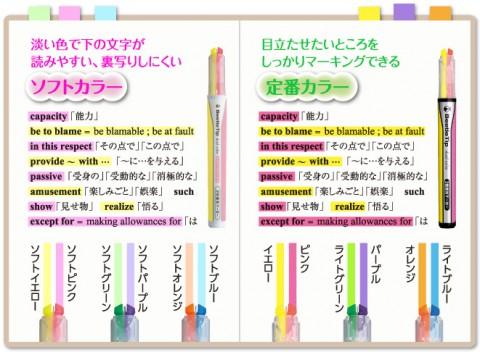 Kokuyo Beetle Tip Dual Color Highlighter - Soft Orange / Soft Blue