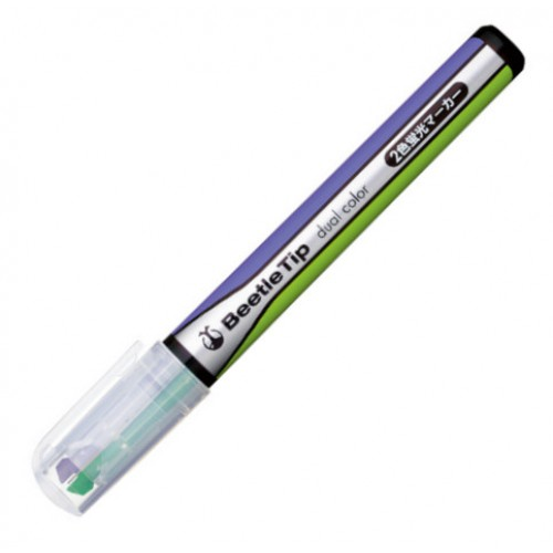 Kokuyo Beetle Tip Dual Color Highlighter - Light Green / Purple