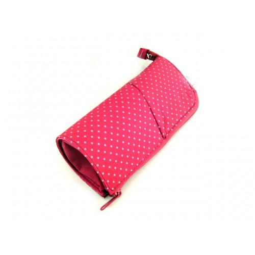Kokuyo Neo Critz Transformer Pencil Case - Double Zipper - Pink Dot/Pink