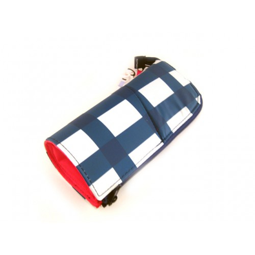 Kokuyo Neo Critz Transformer Pencil Case - Double Zipper - Blue Grid/Pink