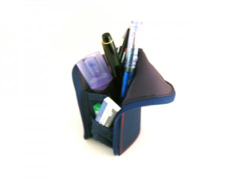 Kokuyo Neo Critz Mini Pencil Case - Emerald Green Navy/Brown