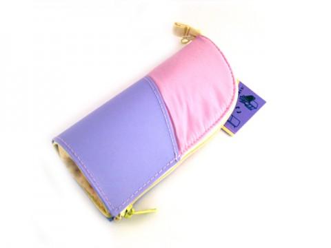 Kokuyo Neo Critz Mini Pencil Case - Pink Purple/Yellow Dot