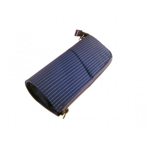 Kokuyo Neo Critz Transformer Pencil Case - Double Zipper - Navy Stripe/Blue