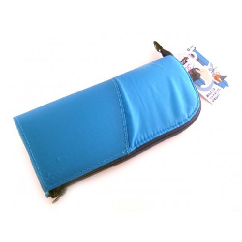 Kokuyo Neo Critz Transformer Pencil Case - Double Zipper - Blue/Navy Dot