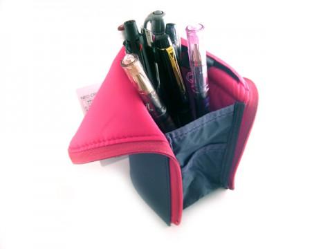 Kokuyo Neo Critz Transformer Pencil Case - Dark Gray/Pink