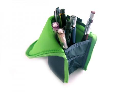 Kokuyo Neo Critz Transformer Pencil Case - Double Zipper - Dark Green/Light Green