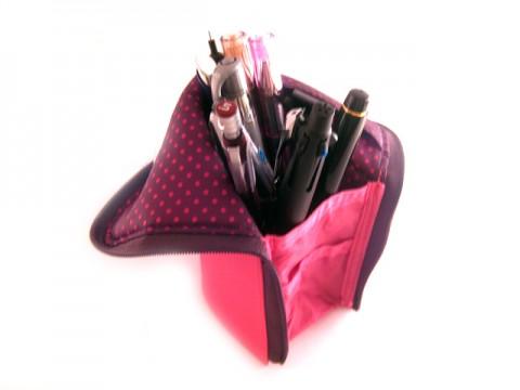 Kokuyo Neo Critz Transformer Pencil Case - Double Zipper - Pink/Brown Dot