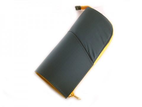 Kokuyo Neo Critz Transformer Pencil Case - Double Zipper - Dark Green/Yellow