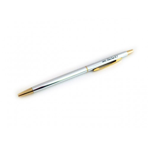 Ohto Needle Point Slim Ballpoint Pen - 0.5mm - Silver Body
