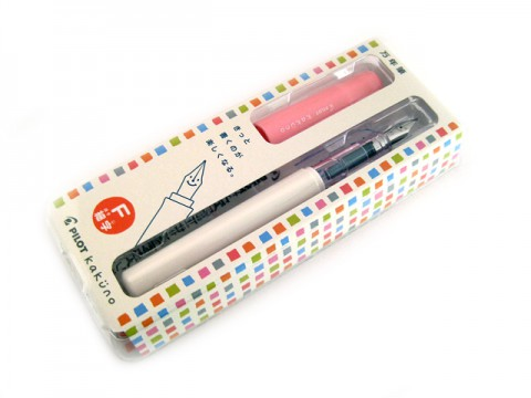 Pilot Kakuno Fountain Pen - Fine Nib - White Body Pink Cap