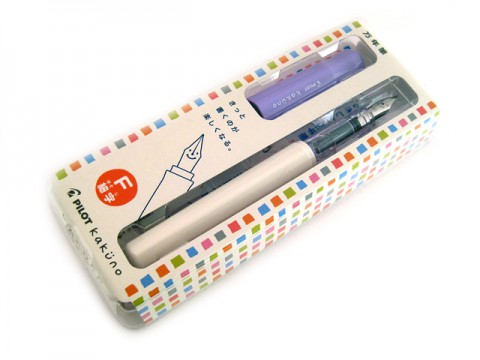 Pilot Kakuno Fountain Pen - Fine Nib - White Body Violet Cap