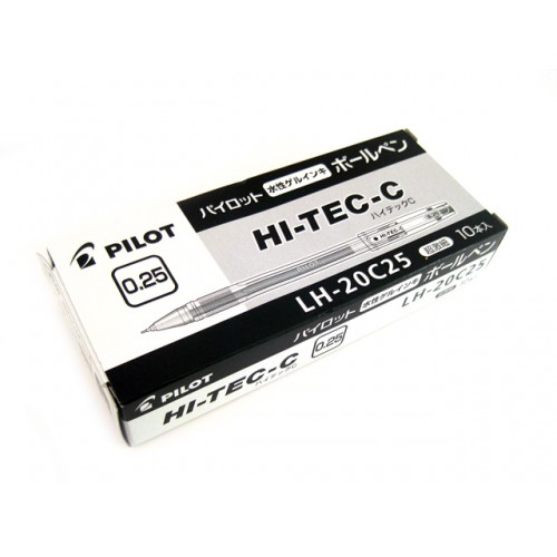 Pilot Hi-Tec-C 0.25mm  -  Black (Box of 10)