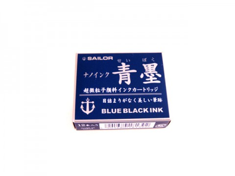 Sailor Fountain Pen Nano Ink Cartridge - Blue Black - Pack of 12