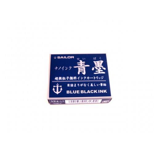 Sailor Fountain Pen Nano Ink Cartridge - Blue Black - Pack of 12