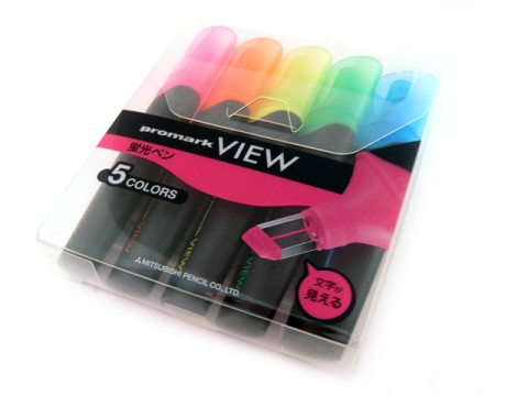 Uni Promark View Highlighter - 5-Color Set
