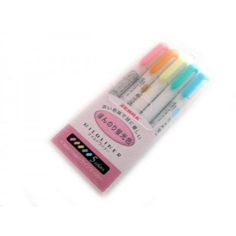 Zebra Mildliner Soft Color Twin Head Highlighter - Fluorescent Color Set