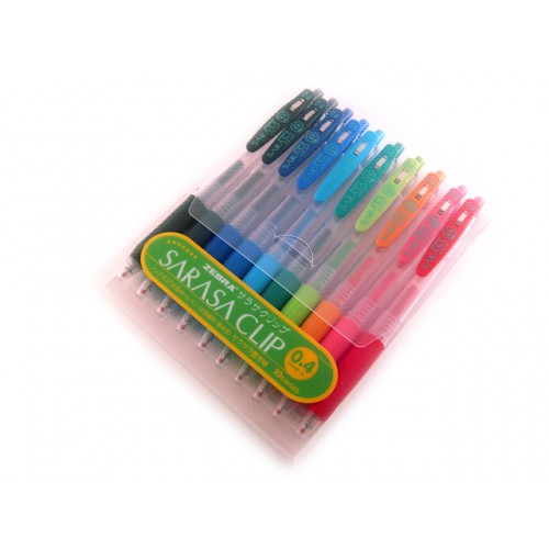Zebra Sarasa Push Clip Gel Ink Pen 0.4mm - 10-Color set