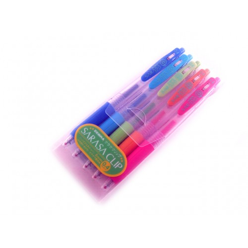 Zebra Sarasa Push Clip Gel Ink Pen 0.4mm - 5-Color set